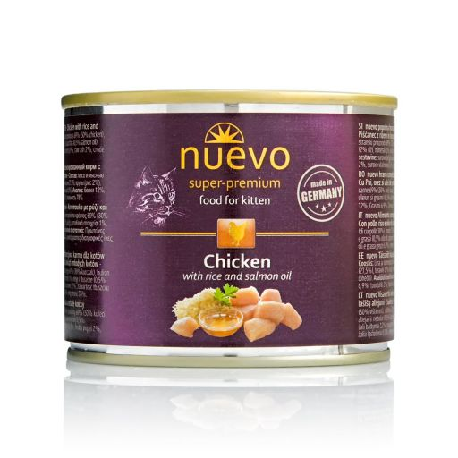 Nuevo - Cibo Per Gatti - Pollo + Riso e Olio di salmone - Cuccioli - 200gr